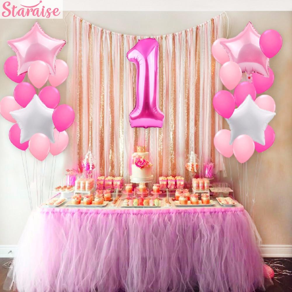 Staraise 25 uds. Globos de 1 er cumpleaños globos de papel rosa azul bebé Primer cumpleaños decoración de un año cumpleaños niños decoración de fiesta