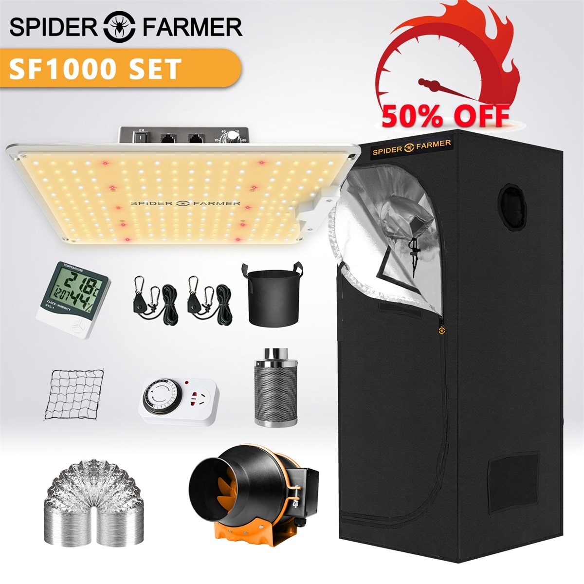 Spider Farmer 1000W LED Grow Light+70x70x160cm Grow Tent Kits with Carbon Filter For Indoor Seeding VEG Plants Flowers enlarge