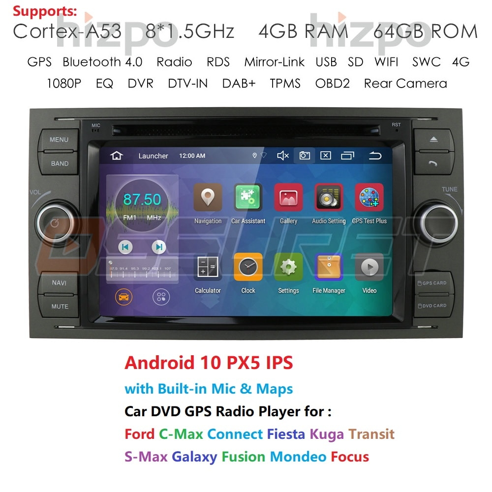 IPS Octa Núcleo DSP Android Q 10 Android DVD Player Do Carro para Ford Transit Fiesta Kuga Fusão Foco com DAB + PGT OBD SWC