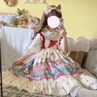 lolita dress japanese cute soft girl jsk cartoon little bear print suspender dress women kawaii princess sweet babydoll dresses