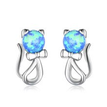 White Blue Round Opal Stud Earrings Cute Small Cat Animal Earrings For Women Wedding Jewelry Vintage