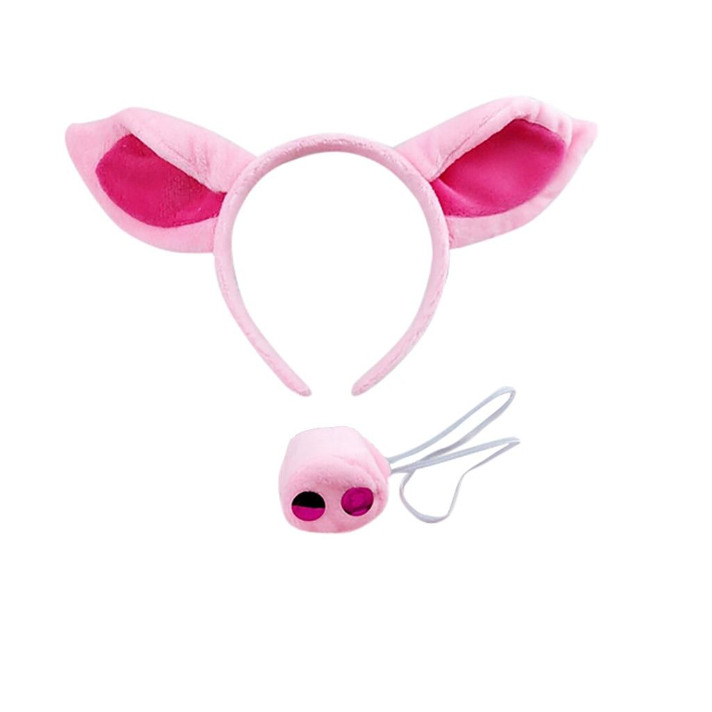 Juguete de fiesta de Halloween para niños adultos, diadema de cerdo de tela rosa, conjunto de disfraz de orejas y cola, divertido Cosplay, 25-40 días a su destino