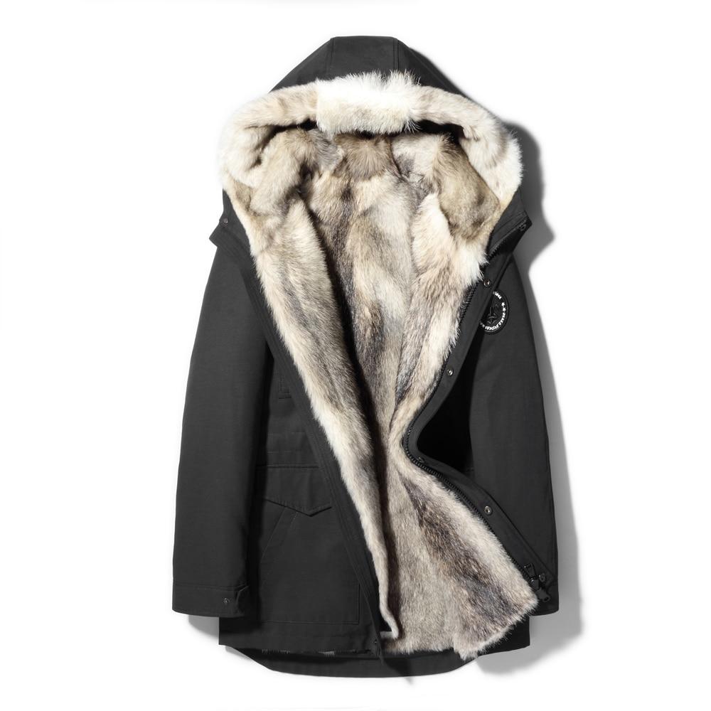 معطف شتوي للرجال ، جاكيت دافئ ، جودة مضمونة ، لون أحمر ، ذئب حقيقي