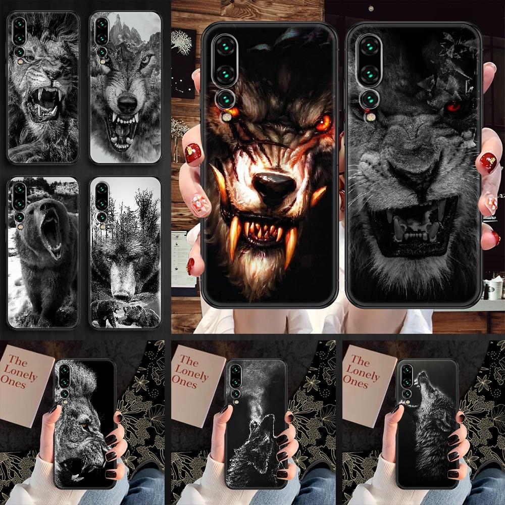 Wolf lion bear Phone case For Huawei P Mate P10 P20 P30 P40 10 20 Smart Z Pro Lite 2019 black trend