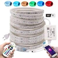Светодиодная светильник та с Wi-Fi управлением и дистанционным управлением, гибкая LED лампа 5050 60 светодиодов/м, 110 В, 220 В, водонепроницаемый, бе...