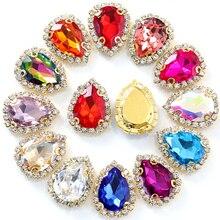 20 pièces 13x18mm goutte deau larme coudre sur Strass avec cristal diamants dentelle couture sur pierres Strass pour vêtements B1084