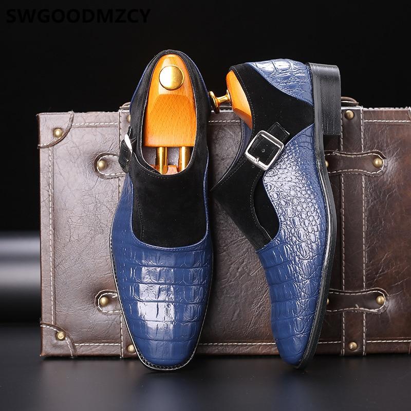 Zapatos De cocodrilo con correa De monje para Hombre, Calzado Formal, Oxford,...