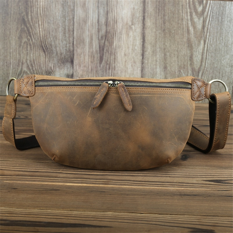 Vintage cuero Real hombres bolsos bandolera bolso de cuero genuino cintura bolsa caballo marrón riñonera accesorios de viaje