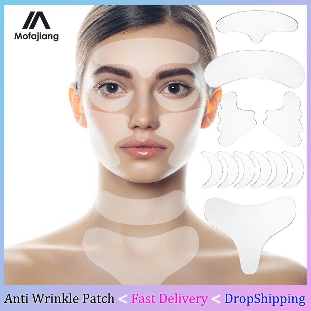 AliExpress - 18Pcs/Set Silicone Anti Wrinkle Patches For Face Lift Tapes Pads Reusable Chest Forehead Neck Eye Skin Wrinkle Removal Stickers