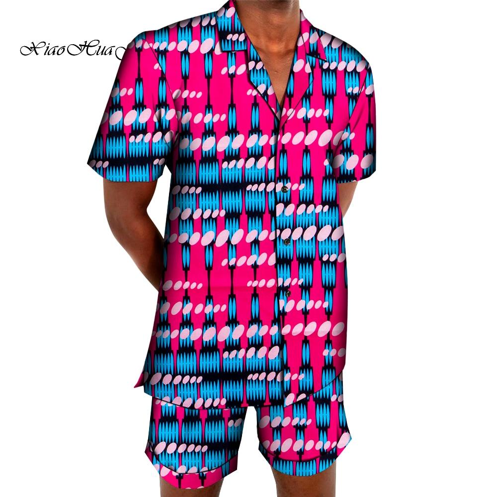 Комплект одежды в африканском стиле для мужчин, рубашка с коротким рукавом и шорты, брюки с Африканским принтом, комплект одежды для мужчин, ...