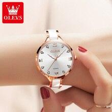 OLEVS Elegant Women's Watches 2021 Luxury Ceramic Strap Ladies Watch Fashion Quartz Wrist Watch For