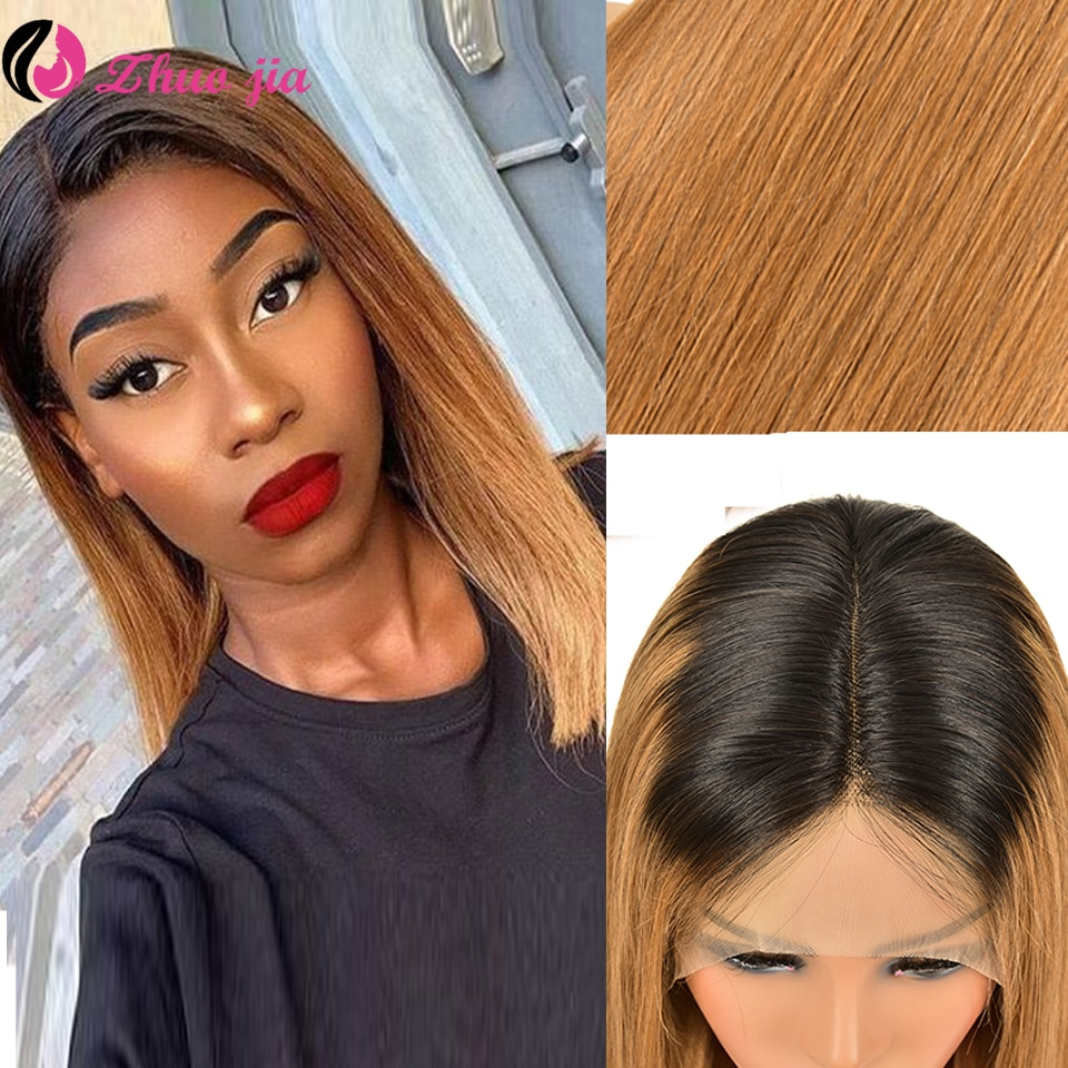 28 Inch Straight Lace Front Wig T1B/30 Ombre Transparent Human Hair Wigs For Black Women 13x4 T Part Lace Front Wig 250 Density