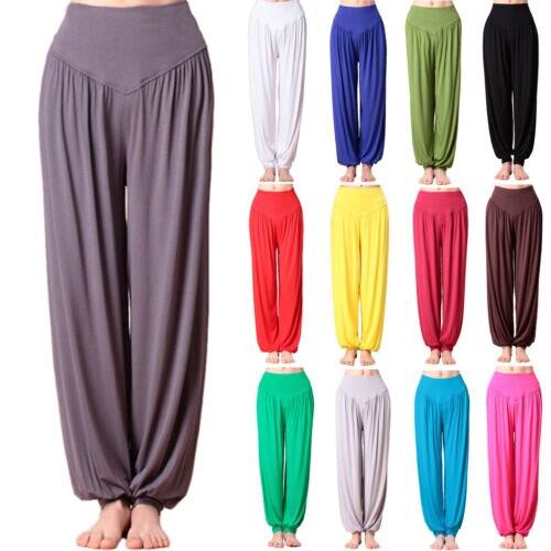Damskie spodnie haremowe Ali Baba długie spodnie luźne, gładkie legginsy do tańczenia