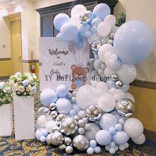 168 Pcs Ballon Slinger Boog Pastel Blauw Grijs Wit Macaron Wedding Baby Shower Party Achtergrond Tape Muur Ballonnen Decor