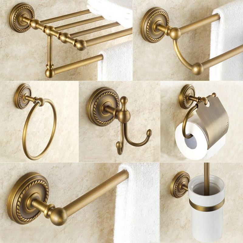 Bathroom Hardware Set Antique Brass Robe Hook Towel Rail Rack Bar Shelf Paper Holder Toothbrush Holder Bathroom Accessories