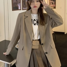 Khaki Suit Coat Autumn Korean 2021 New Small Loose Vertical Casual Long Sleeve Suit Women's Wear