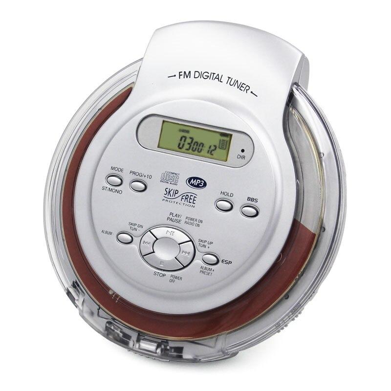 Disco com Fone de Ouvido Saída de Áudio fm à Prova Portátil Walkman Discs Player Suporte Inglês Mp3 Jogar Música Display Lcd Rádio Choque cd