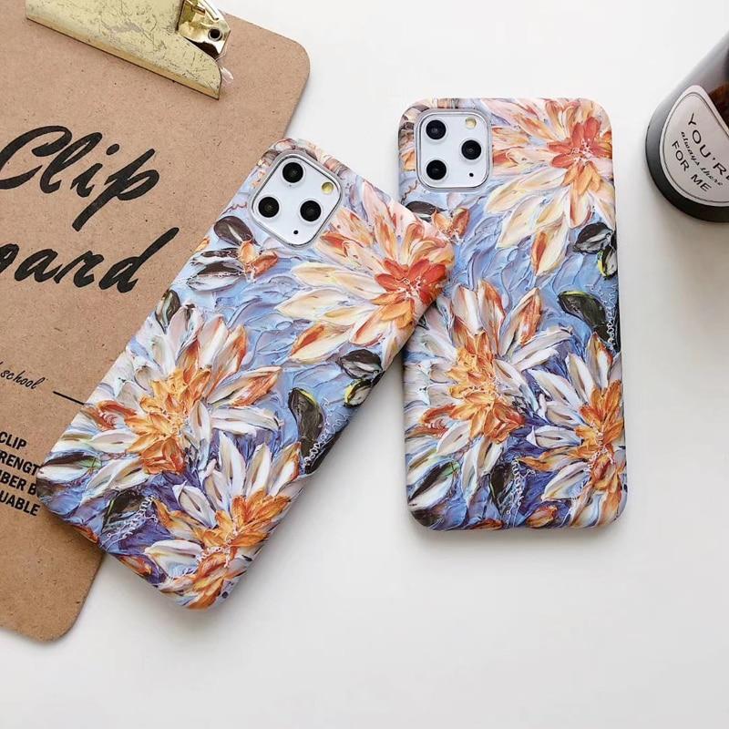 Pintura al óleo de flores, funda de teléfono para iPhone X XS XR 11 Pro Max, funda trasera suave para iPhone XSMAX 7 8 Plus Capa Coque