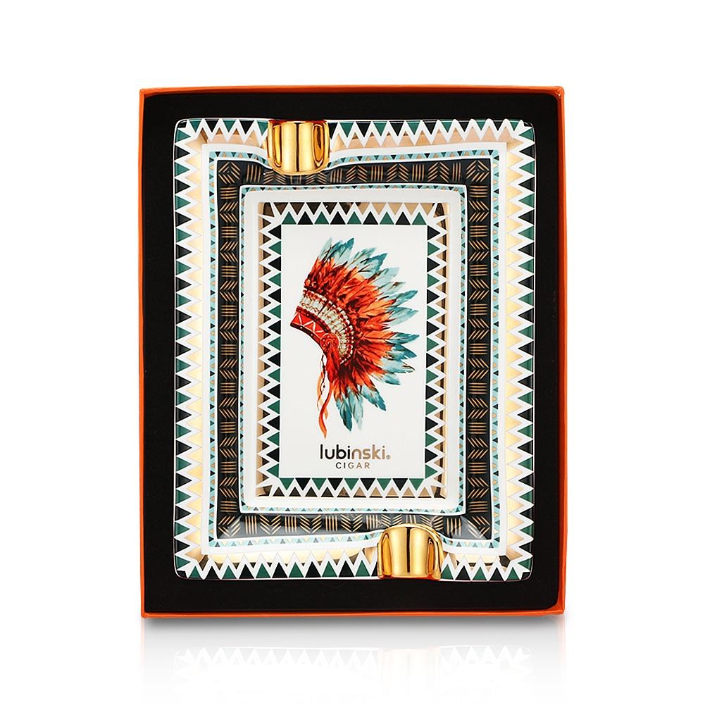 LUBINSKI Ceramic Ashtray Luxury Pattern Table Home Cigar Ashtray Indoor House Office 2 Tube Slot Ash Tray Gift Box Packaging enlarge