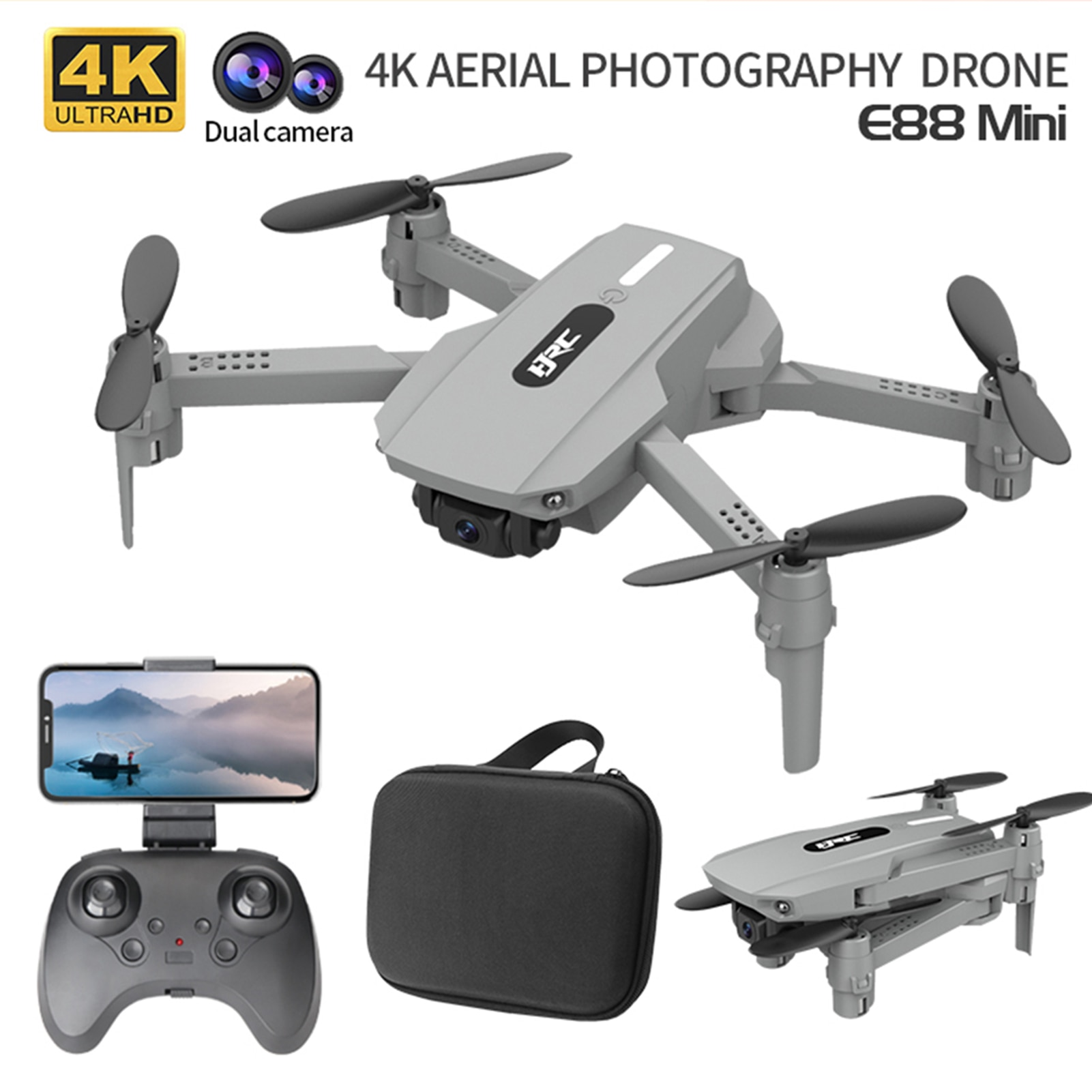 50x Zoom Foldable Mini Drone Altitude Hold 4K Dual Camera Quadcopter With Remote Controller RC FPV Helicopter Quad Toys For Kids