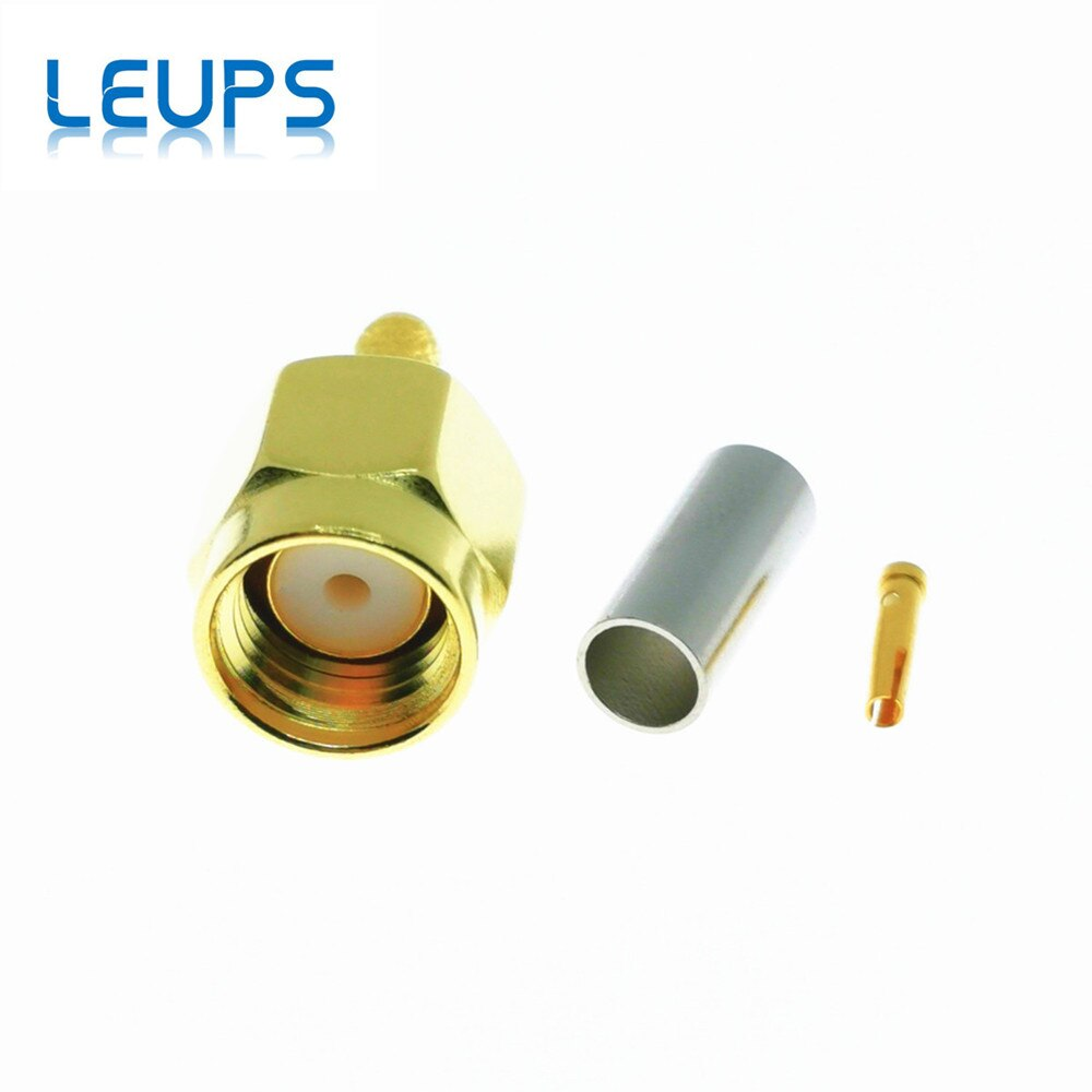 10 Uds RP-SMA conector macho (Pin hembra) Jack Crimp para RG316 RG174 LMR100 Cable RF