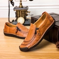 autumn mens casual shoes side zipper loafers mens soft soled all match driving shoes men dress shoes casual leather shoes