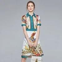 women floral dresses 2020 summer white print green goose flower shirt long casual sexy office work boho plus size dress elegant