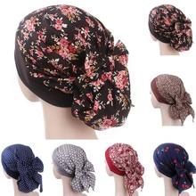 New Product Fashion Cap  Women Print Muslim Hat Stretch Retro Turban Hat Head Wrap Cap High Quality Cotton Dust Cap Hats