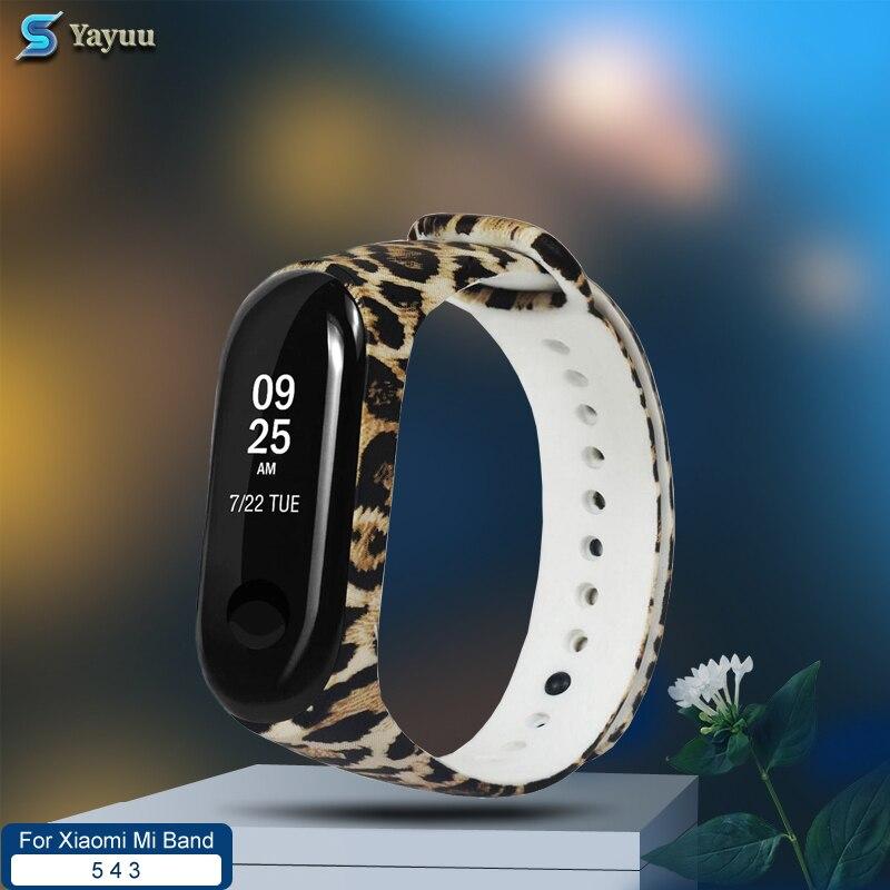 Yayuu teste padrão de silicone macio impresso pulseira de relógio para xiaomi mi banda 5 substituição camuflagem pulseira para mi banda 4 3 pulseira de relógio