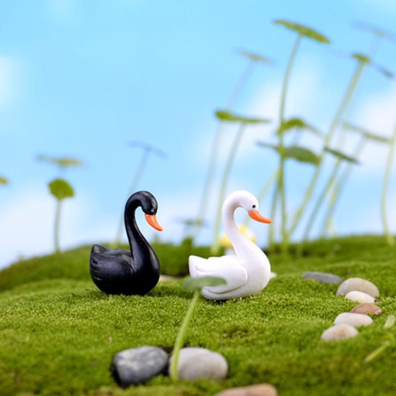 Cisne blanco negro adorno de jardín figura en miniatura para maceta decoración de jardín de hadas 2 colores