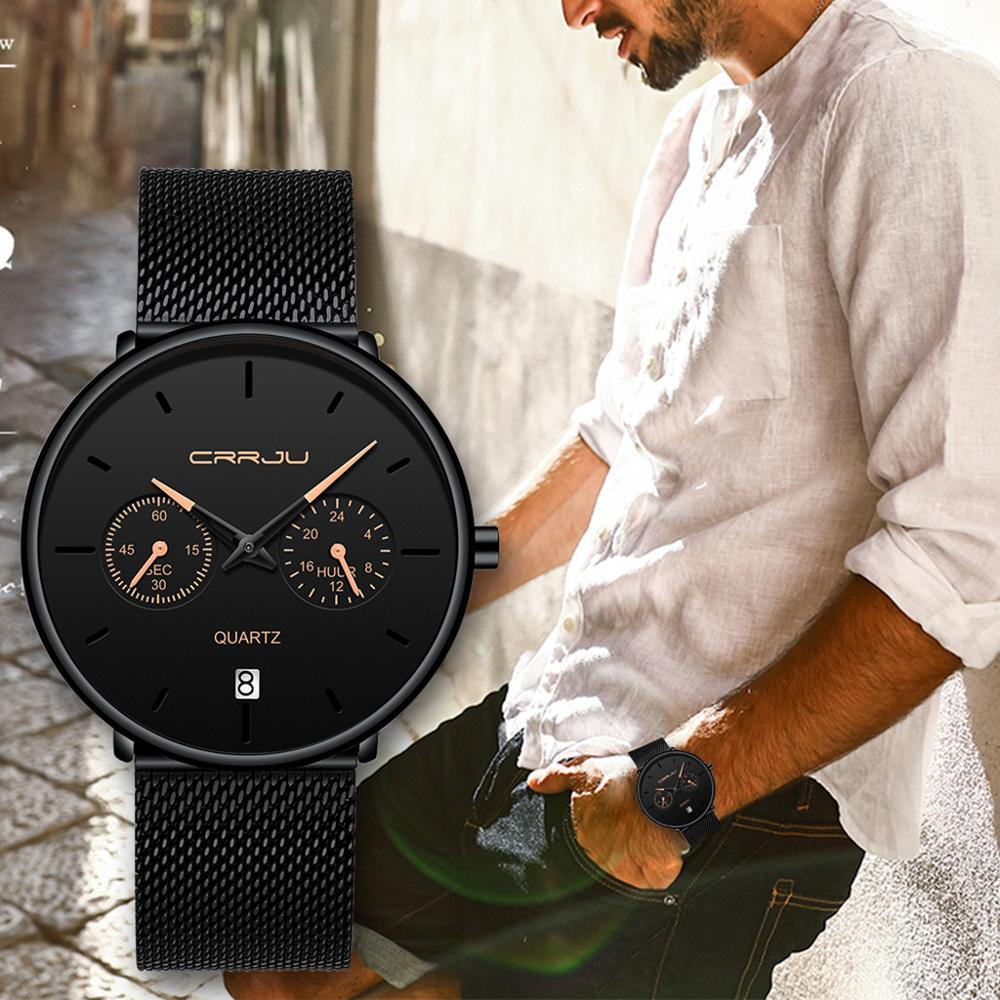 Topo da marca de luxo crrju 2019 nova à prova dwaterproof água relógio masculino moda minimalista 24 horas exibição malha cinta relógio pulso relogio masculino