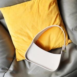 Fashion Women Armpit Handbags Vintage PU Leather Ladies White Crossbody Bags High-quality Girls Baguette Casual Shoulder Bag