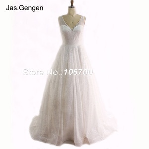 vestidos de novia Glitter Ball Gown Evening Dress V Neck Sheer Illusion Long New Wedding Dress Bridesmaid Bridal Prom Gowns