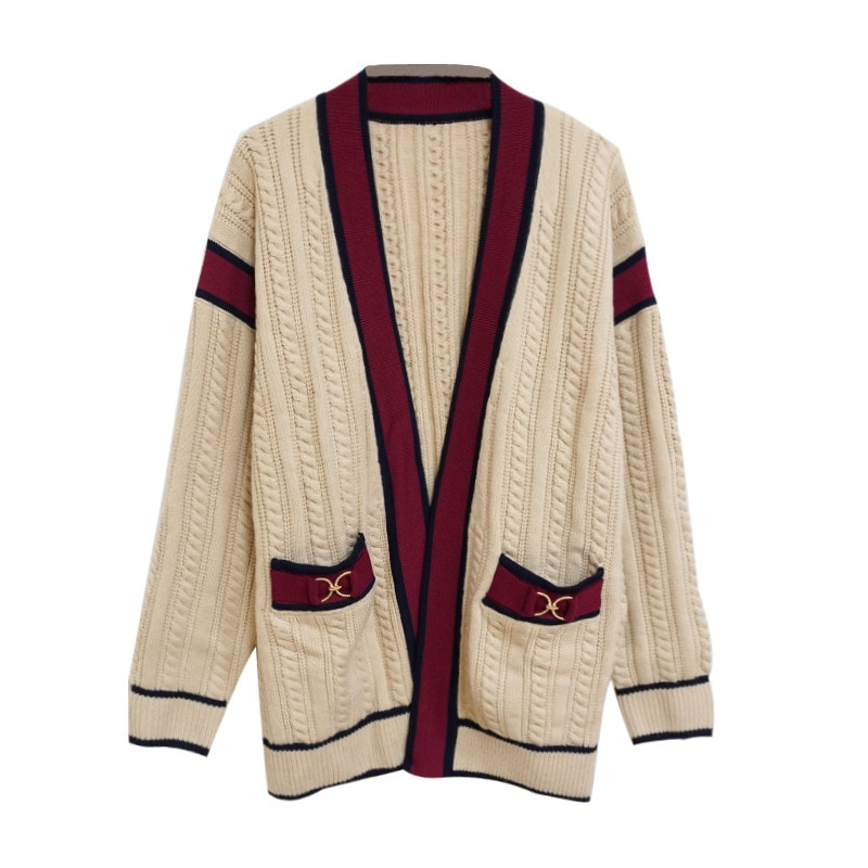 Gezelligheid 2021 Autumn Winter Runway Fashion Elegant Casual  Loose Wool Knitted Cardigan Women Coat Jacket Sweater Female Tops enlarge