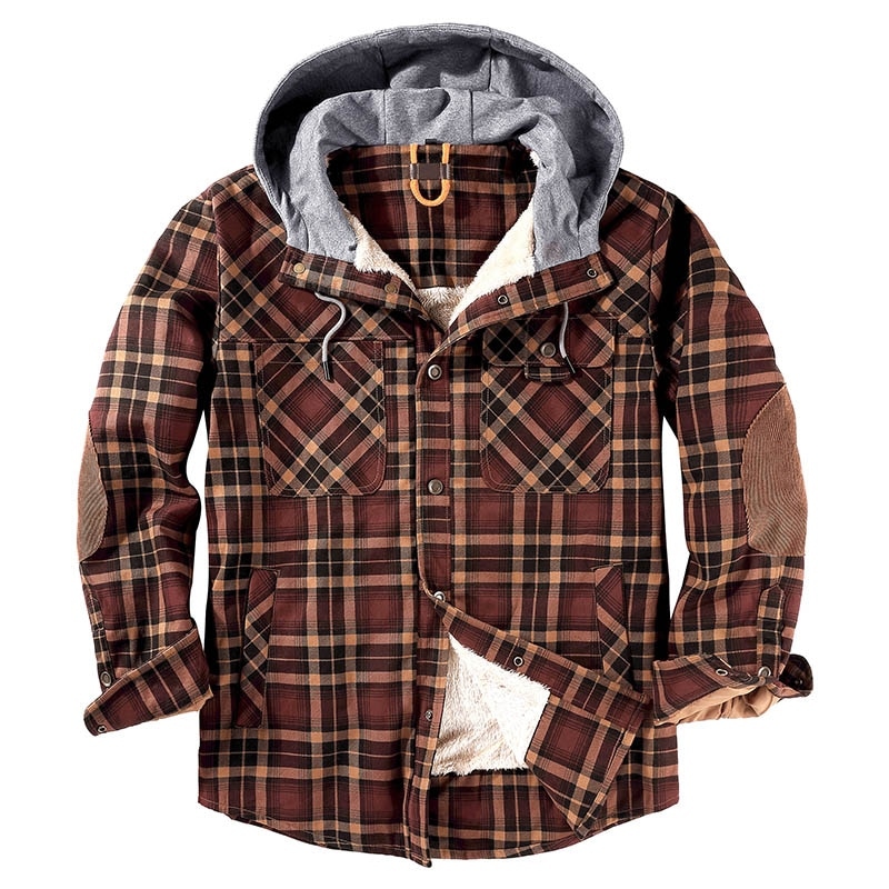2020 Winter Jacket Men Fleece Warm Jacket Shirts Coat Warm Fleece Pure Cotton Plaid Hooded Jackets Coats Single Breasted
