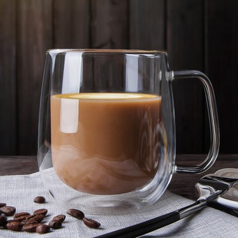Taza de vidrio de doble pared resistente a la taza para té o cerveza, leche, jugo de limón, taza para beber, amante, tazas de café, taza de regalo