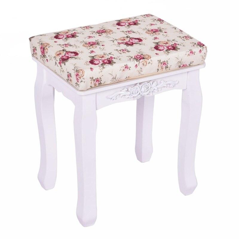 Taburete de tocador acolchado blanco, asiento de Piano, cojín de flores, taburete de madera de campo HB84672