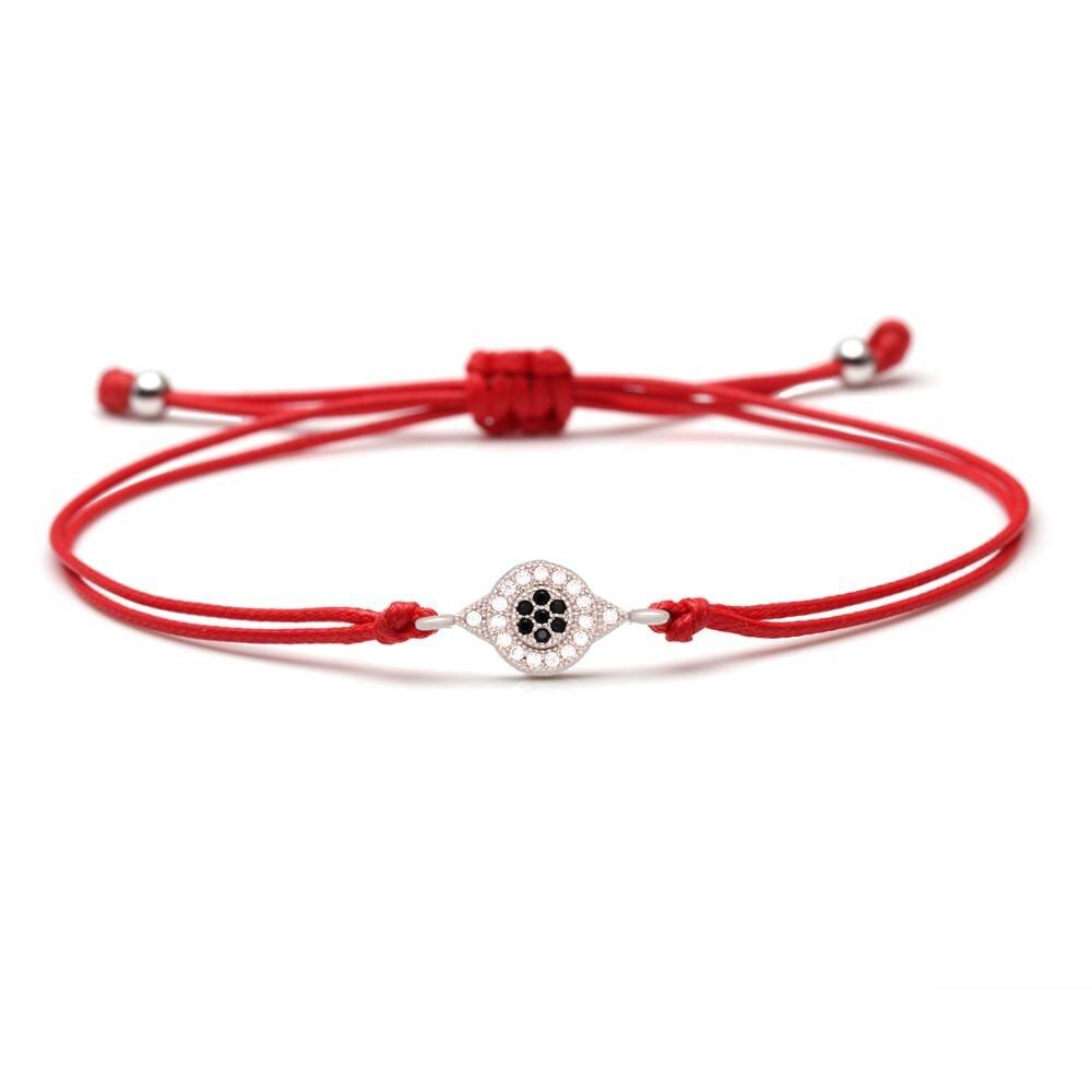 White Blue Zircon Brass Evil Eye Charm Bracelet Women Men Black Green Red String Braided CZ Crystal Braided Adjustable Jewelry