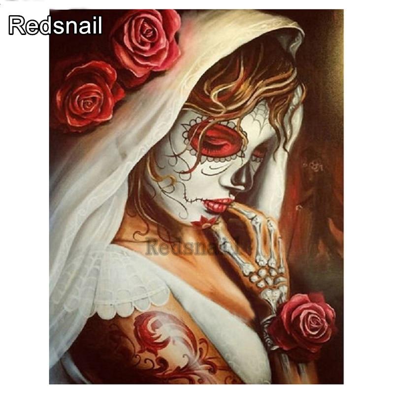 Cuadro pintado con diamante de imitación bordado halloween calavera novia diamante pintura de mosaico de diamantes diy 5d stitch Cruz decoración TT1633