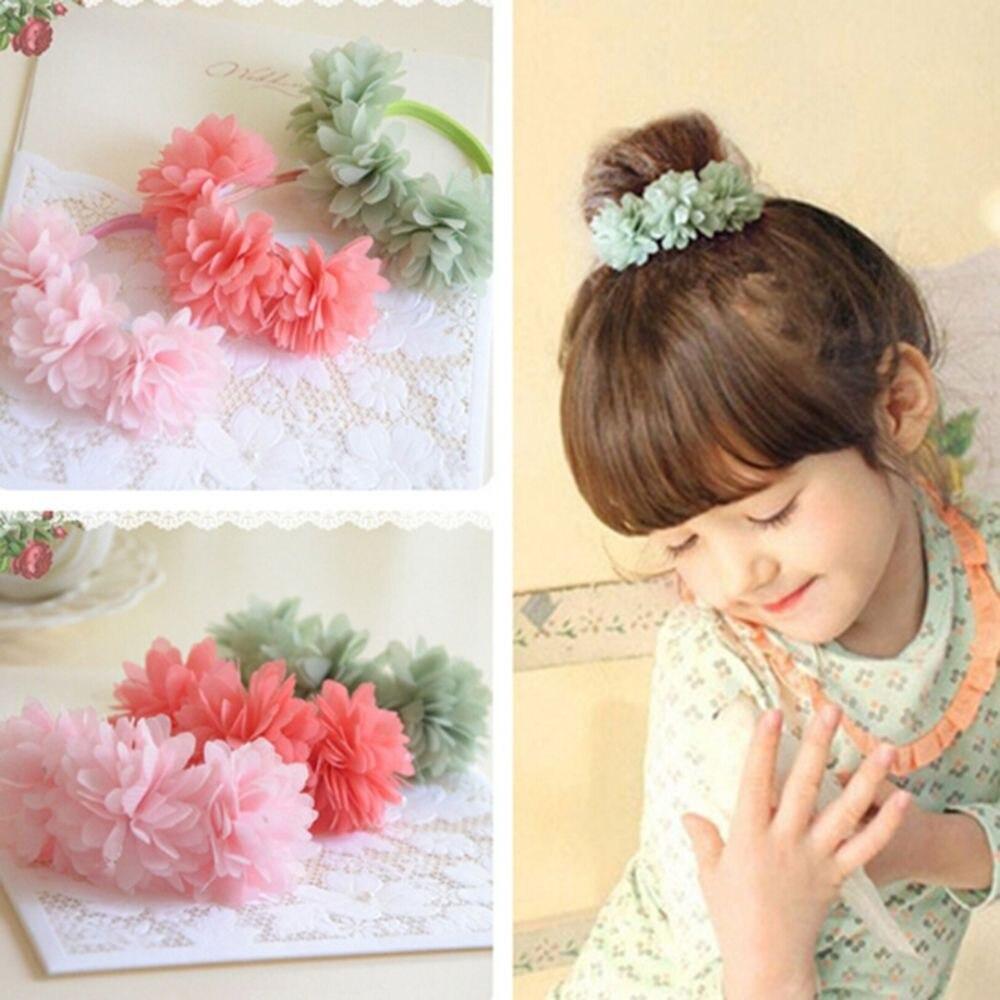 Multi-camada flor elástico faixas de cabelo headwear meninas corda de cabelo crianças acessórios para o cabelo headdress