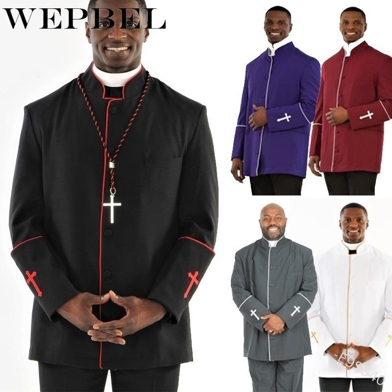 WEPBEL Men Preacher Work Clothing Casual Jackets Priest Pastors Preacher Clergy Jackets Coats Plus Size S-5XL