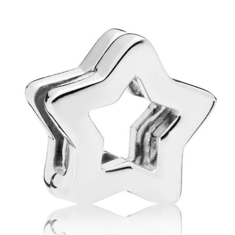 Nuevo cuenta en plata esterlina 925 Charm suave reflexiones estrella Clip tapón cierre cuentas ajuste Pandora pulsera brazalete joyería Diy