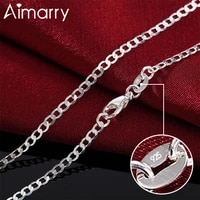 aimarry 925 sterling silver 1618202224262830 inch 2mm side chain necklace fashion jewelry for women men wedding gifts