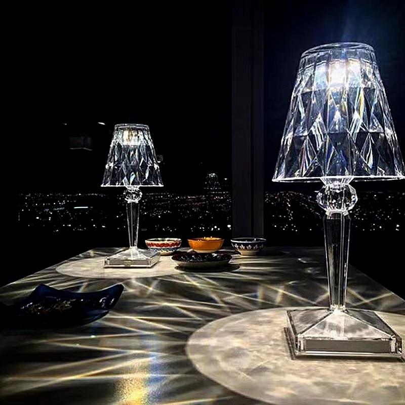 Italian Kartell Battery Desk Lamp USB Touch Sensor Bar Light Night Restaurant Table Lamps Romantic Nightlight Fixture Bed