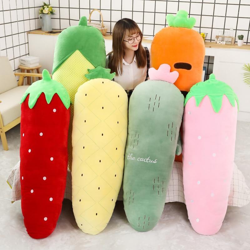 50/70/120cm longo pelúcia frutas vegetais plantas gigante brinquedo recheado morango abacaxi cacto milho cenoura dormir travesseiro decoração