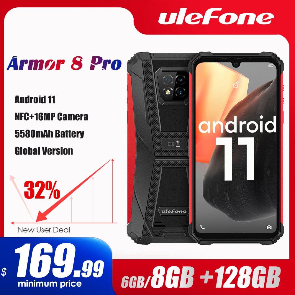 Ulefone Armor 8 Pro أندرويد 11 هاتف ذكي متين 6GB + 128GB NFC/IP68/الهاتف الذكي 5580mAh مقاوم للماء الهاتف المحمول