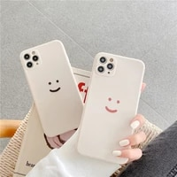 fashion simple smile face couple case for iphone 11 pro xs max xr x 7 6 12 8 plus black white silicone phone cover soft bag