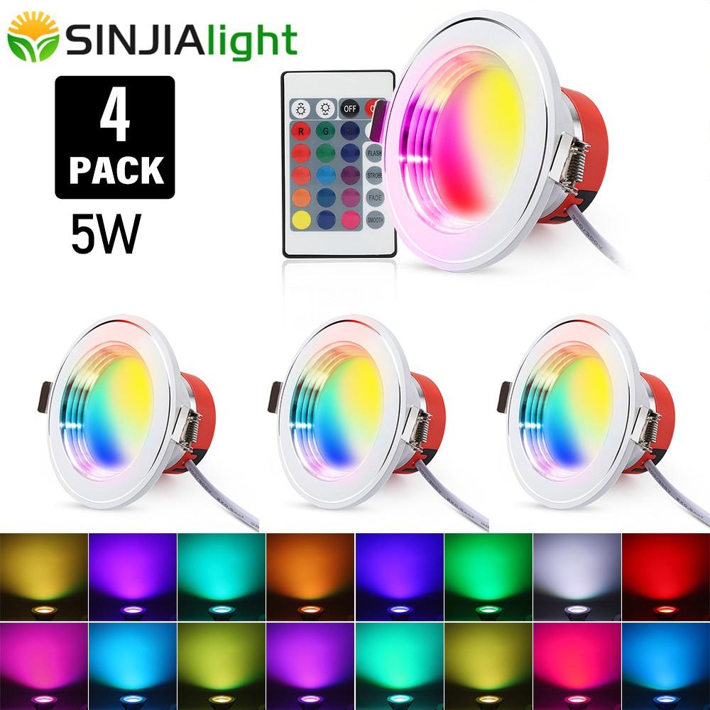 4 قطعة/الوحدة 5W RGB LED النازل التحكم عن بعد الأضواء اللون بقعة Led السقف مصباح ل بهو غرفة نوم led أضواء ديكور المنزل