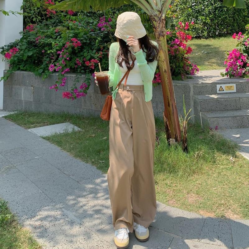 Pantalon drapé kaki surdimensionné pour femme, vêtement d'été ample, taille haute, jambes larges, nouvelle collection 2021