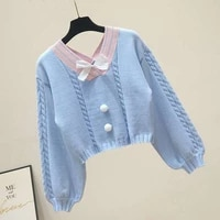short sweet sweater women twist pullovers students all match jumper jersey mujer knit top